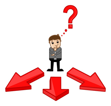 Which Way to Choose - Vector Character Illustration Vector