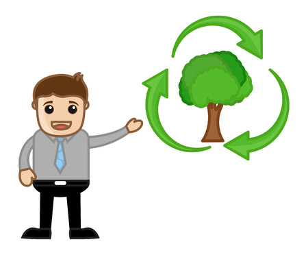 Showing Green Cycle - Nature - Vector Character Illustration Vector