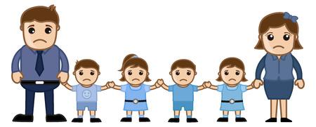 famiglia numerosa: Grande Famiglia - Vector personaggio dei cartoni animati illustrazione