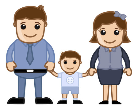 Husband, Wife and Child - Vector Cartoon Character Family Illustration Vector