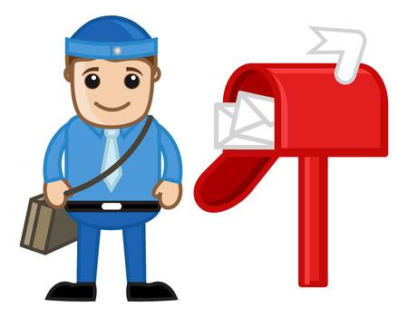 bad service: Postman - Vector Character Cartoon Illustration