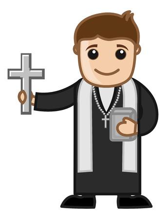 Priester - Vector Karakter Illustratie van het Beeldverhaal Stock Illustratie