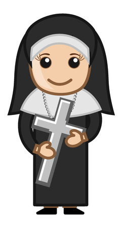 Nun Holding Holy Cross - Vector Character Cartoon Illustration Vector