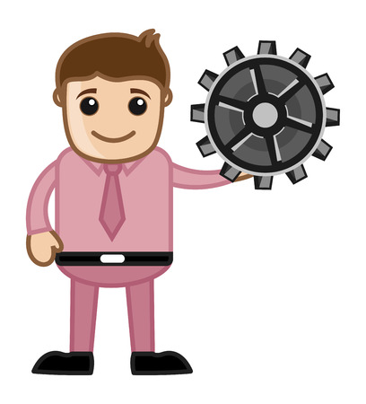 Holding a Gear - Vector Character Cartoon Illustration Vector