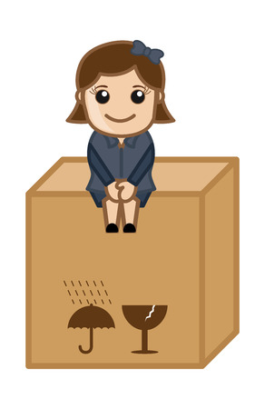 Sitting on a Fragile Box - Vector Character Cartoon Illustration Vector