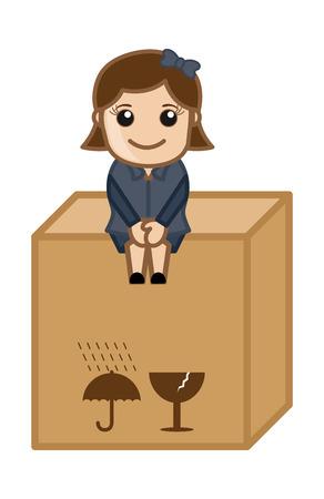 Sitting on a Fragile Box - Vector Character Cartoon Illustration Vector