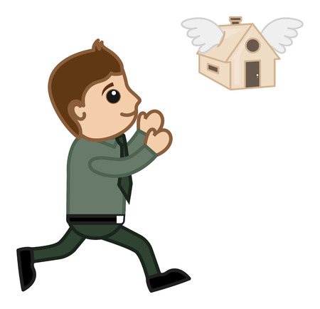 Home Flying Away - Mortgage Loan Concept - Vector Character Cartoon Illustration Vector