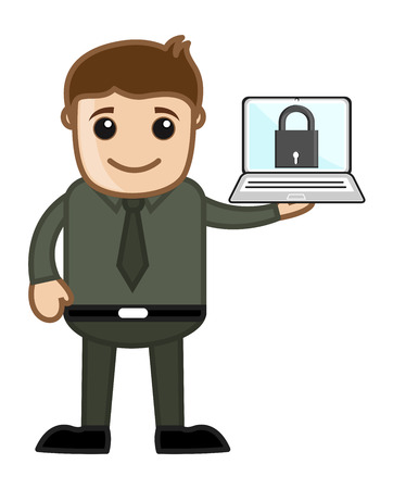 Computer Protection - Vector Character Cartoon Illustration Vector