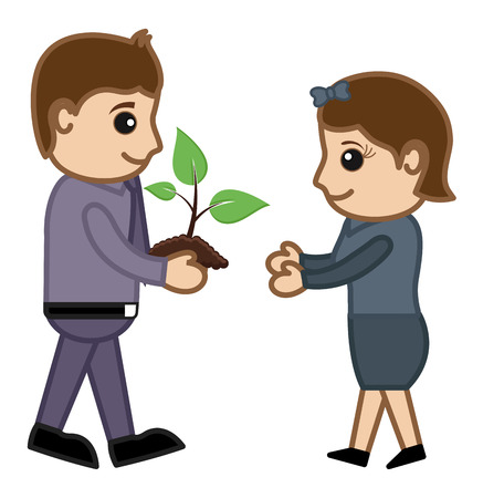 gifting: Man Gifting a Baby Plant - Vector Character Cartoon Illustration