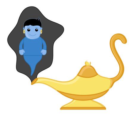 Magic Lamp Genie - Vector Character Cartoon Illustration Vector