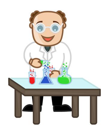 Professor Experiment - Vector Character Cartoon Illustration Vector