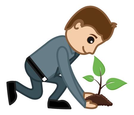 Planting a Tree - Vector Character Cartoon Illustration