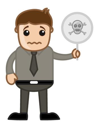 Danger Sign - Vector Character Cartoon Illustration Vector