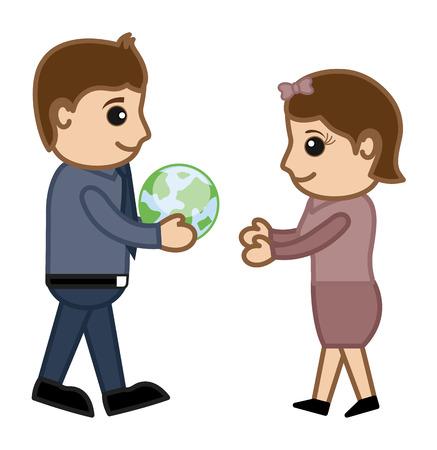 gifting: Regalar un concepto verde de la Tierra - ilustraci�n vectorial personaje de dibujos animados Vectores