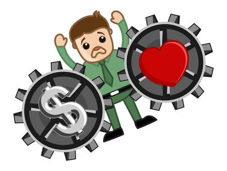 Love and Money - Vector Character Cartoon Illustration Vector