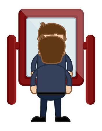 looking in mirror: Looking at Mirror - Vector Character Cartoon Illustration