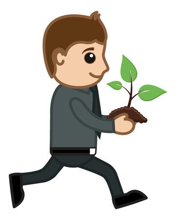 Running Holding Baby Plant - Vector Character Cartoon Illustration Vector