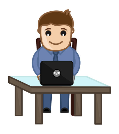 Working on Laptop - Vector Character Cartoon Illustration Vector