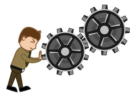 Pushing Gears - Vector Character Cartoon Illustration Vector