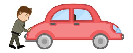 Pushin a Car Vector - Vector Character Cartoon Illustration Vector