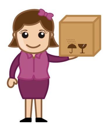Woman Holding Delivery Box - Vector Character Cartoon Illustration Vector