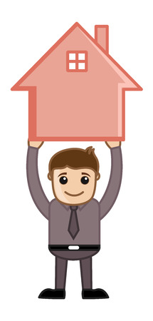 Holding a House - Real Estate Concept - Vector Character Cartoon Illustration Vector