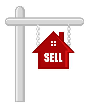 sell house: Sell Your House - Real Estate Concept - Vector Character Cartoon Illustration