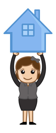 Holding a House Icon - Real Estate Concept - Vector Character Cartoon Illustration Vector