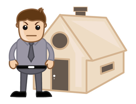 irritate: Angry Man Outside a House - Real Estate Concept - Vector Character Cartoon Illustration Illustration