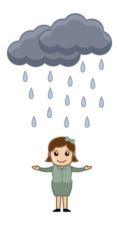 raining: Cartoon Vector Character - Raining