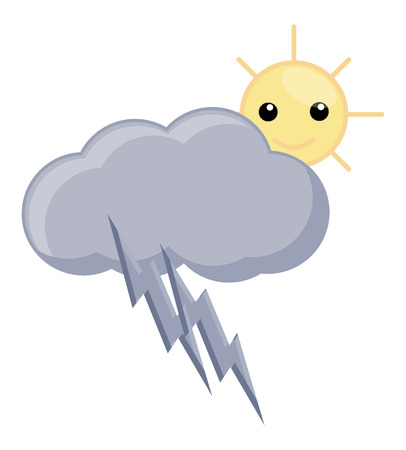 Cartoon Cloud Thunder and Sun - Wheather Vector Vector