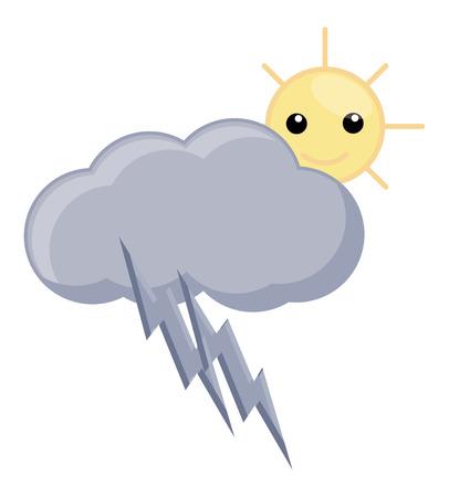 wheather: Cartoon Cloud Thunder and Sun - Wheather Vector Illustration