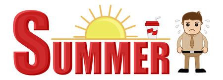 irritate: Summer Vector Cartoon Illustration Illustration