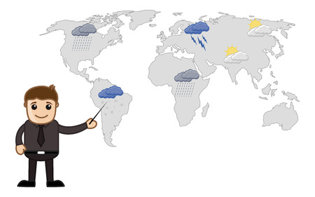 weather report: Weather Report - Cartoon Vector Illusatrtion