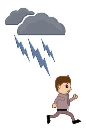 thunder and lightning: Thunder Lightning - Cartoon Vector Illusatrtion Illustration