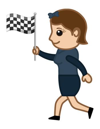 Cartoon Vector Character - Racing Flag Vector