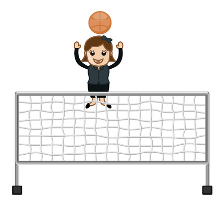 Cartoon Girl Playing Throwball Vector