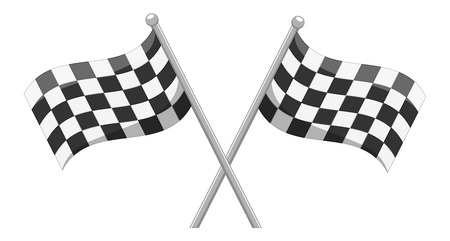 cross match: Racing Crossed Flag Vector Cartoon Illustration