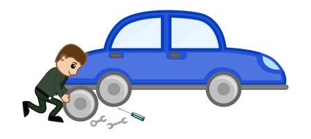 Cartoon Vector - Car Repairing Vector