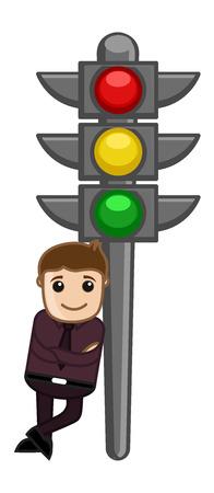 traffic signal: Vector de dibujos animados - Man Standing con el semáforo