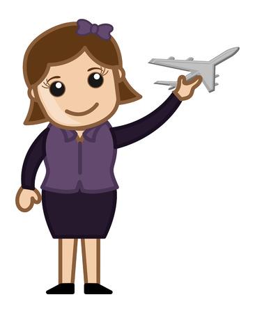 avi�n juguete: Mujer que sostiene un avi�n de juguete - Concepto Viaje Vectores