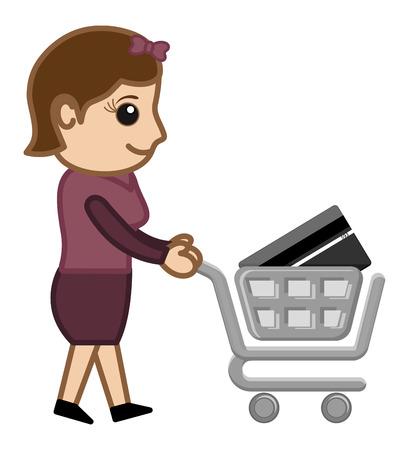 credit card business woman: Plastic Money Shopping Concept - Cartoon Vector