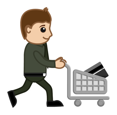 credit card business woman: Shopping with Plastic Money - Cartoon Vector Illustration