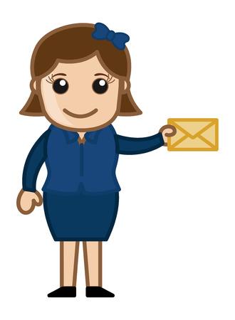 Girl Holding Envelope - Cartoon Vector Vector
