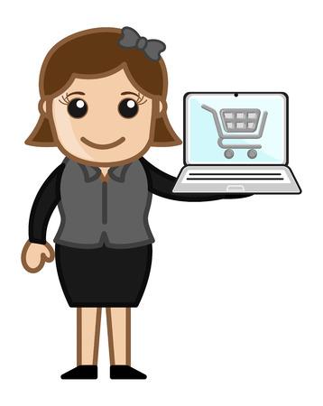 credit card business woman: Online Shopping - Cartoon Vector Illustration