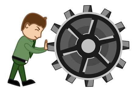 Dragging the Gear - Cartoon Vector Vector