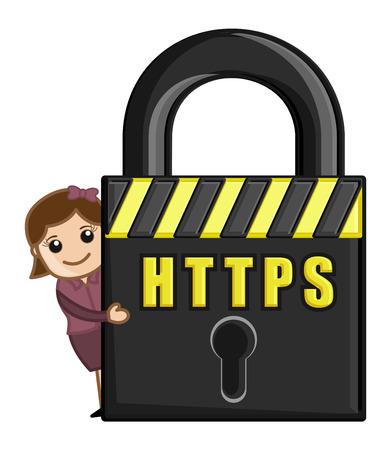 HTTPS - Мультфильм Вектор Фото со стока.