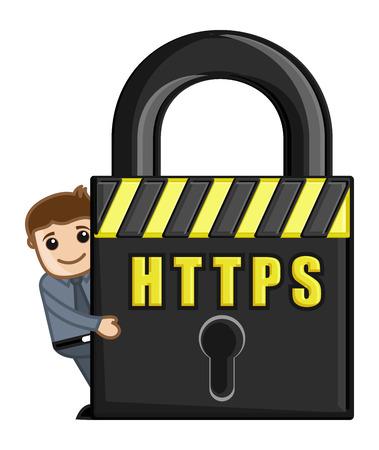 HTTPS Icon - Cartoon Vector Illustration