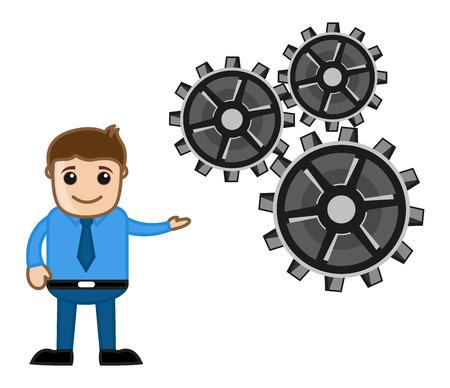 Gears - Process Concept - Cartoon Vector Vector