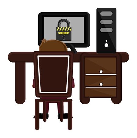 accessing: Accessing Secure Website - Cartoon Vector Illustration
